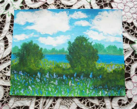 nino gudadze. Original Acrylic Landscape Painting Blue Flower field - photo 2