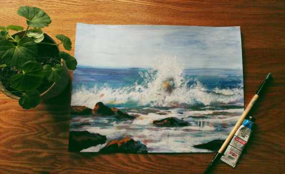 nino gudadze. Acrylic sea painting - photo 1