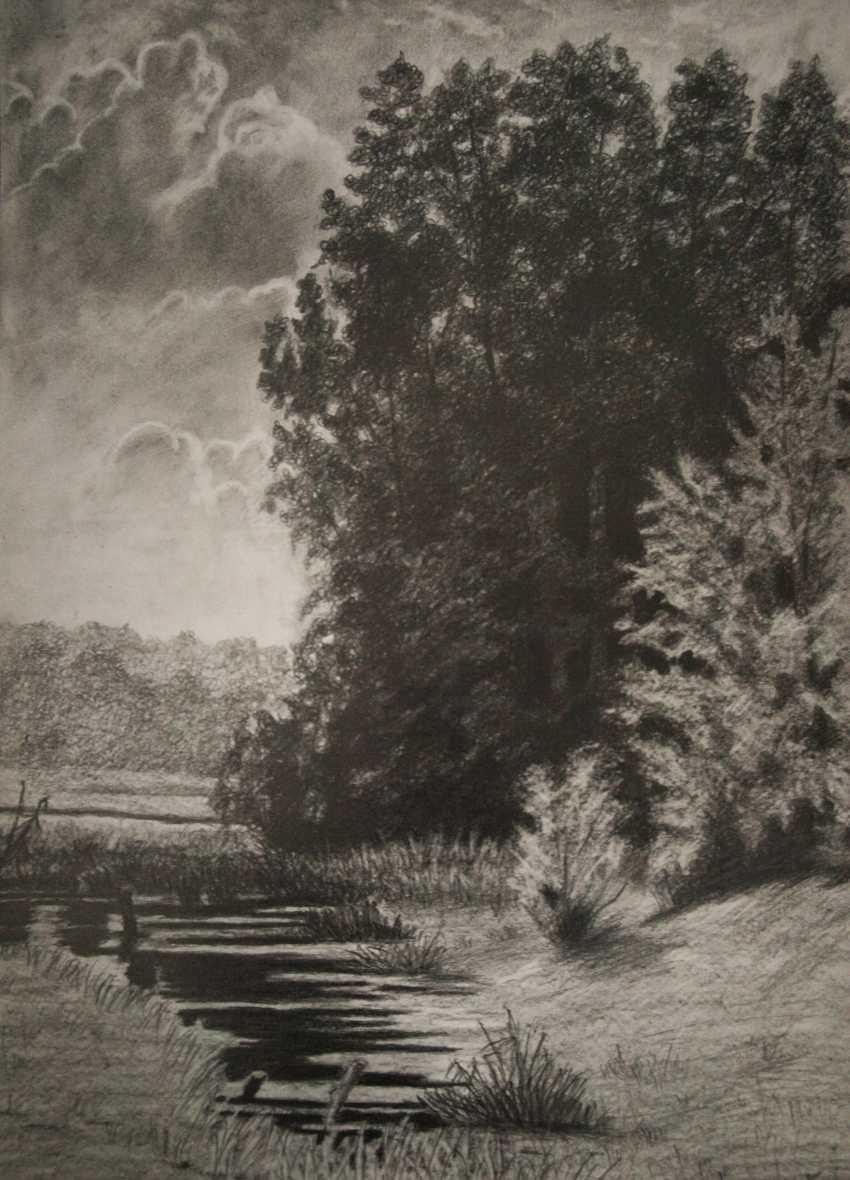 nino gudadze. Ivan Shishkin Reproduction. Pencil Drawing Landscape - photo 1