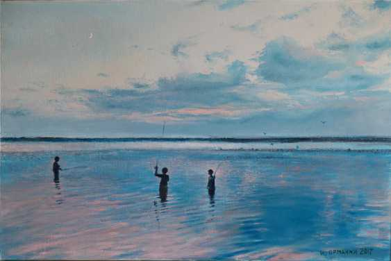 Ivan Ormanzhi. Original landscape painting oil on canvas, Fishing on the evening Dnepr river - photo 1