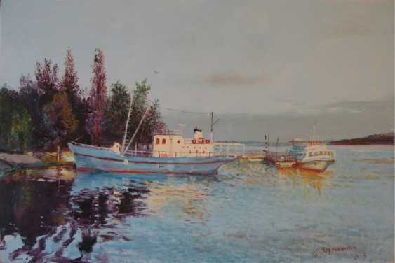 Ivan Ormanzhi. Original landscape painting oil on canvas, Evening on the Dnepr river - photo 1