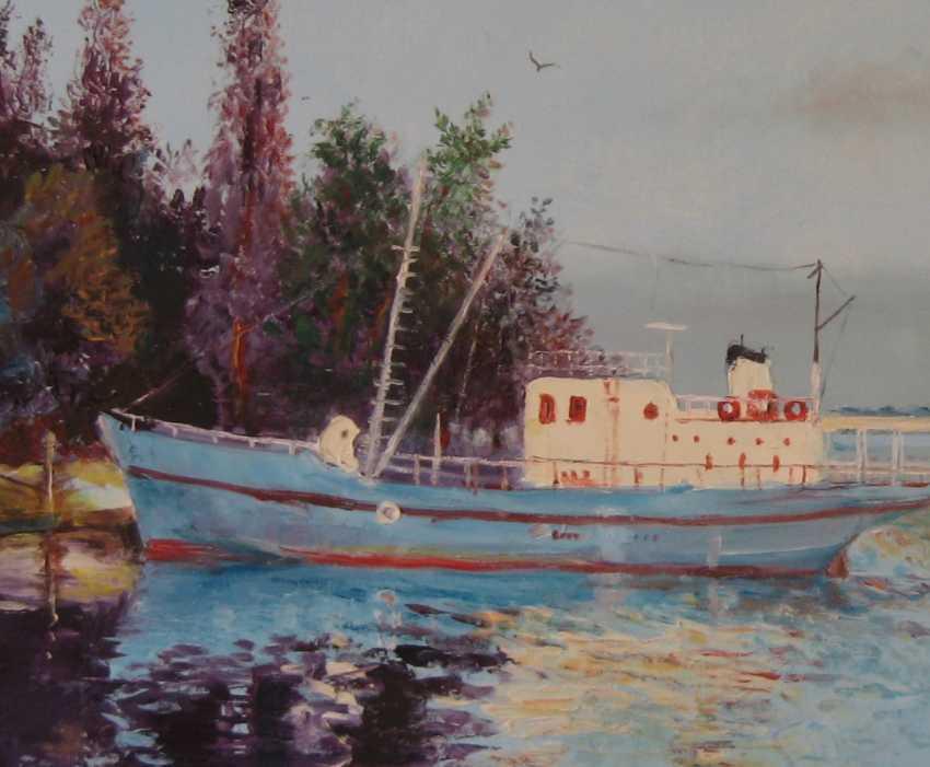Ivan Ormanzhi. Original landscape painting oil on canvas, Evening on the Dnepr river - photo 2