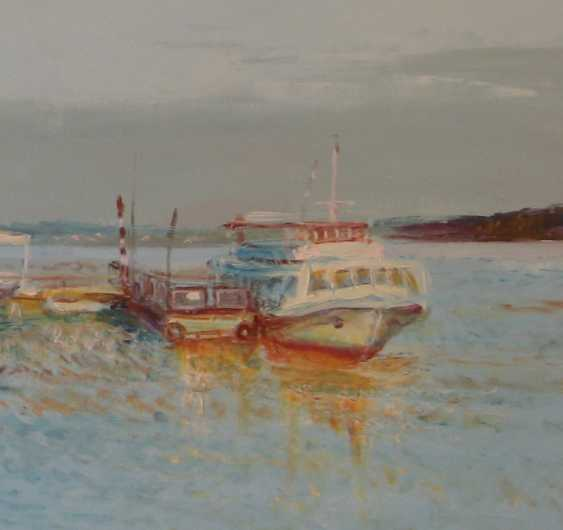 Ivan Ormanzhi. Original landscape painting oil on canvas, Evening on the Dnepr river - photo 3