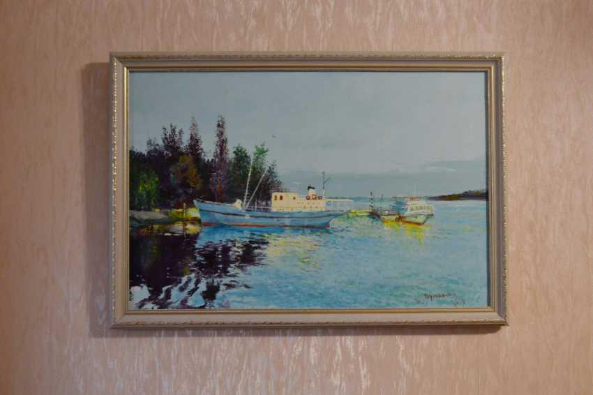 Ivan Ormanzhi. Original landscape painting oil on canvas, Evening on the Dnepr river - photo 4