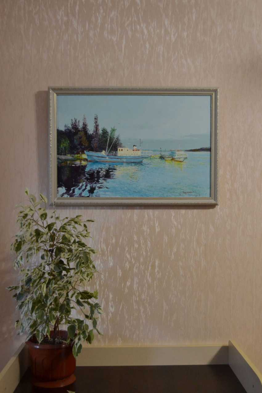 Ivan Ormanzhi. Original landscape painting oil on canvas, Evening on the Dnepr river - photo 5