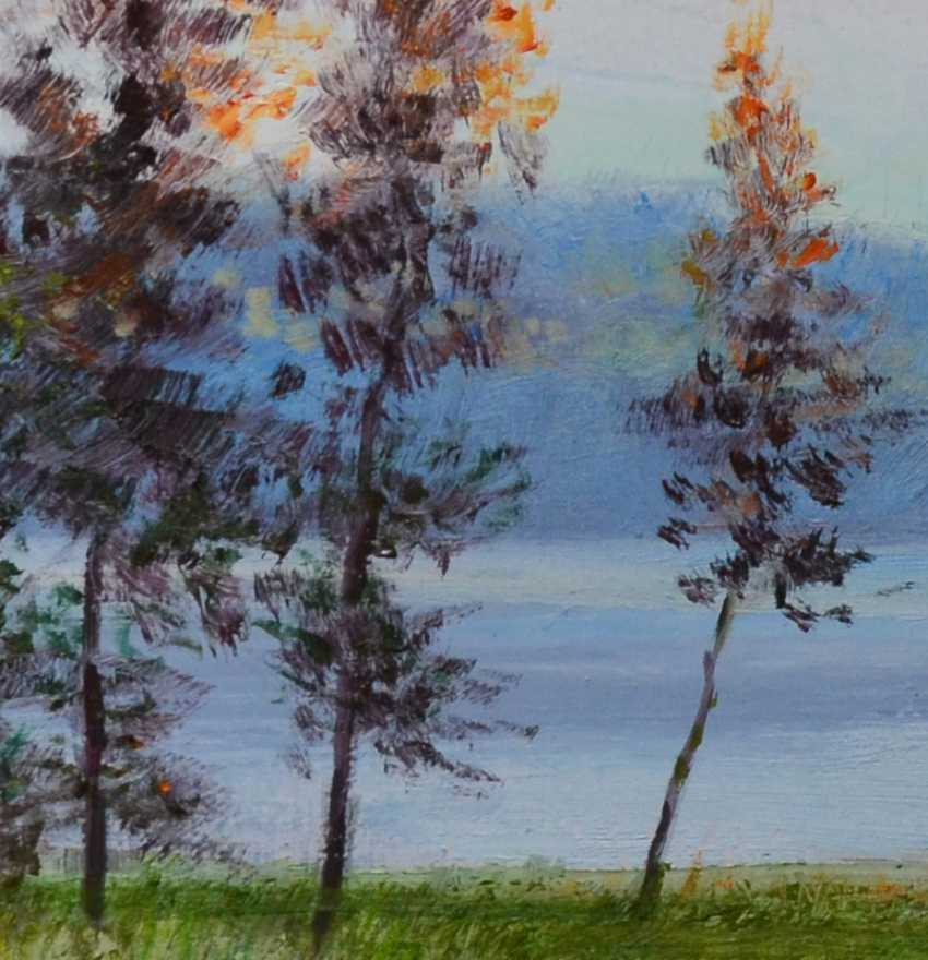 Ivan Ormanzhi. Original landscape painting oil on canvas, Silent evening near Dnepr river - photo 4