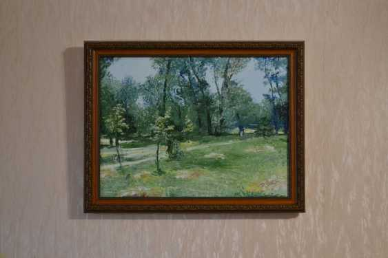 Ivan Ormanzhi. Original landscape painting oil on canvas, Hayfield in the park - photo 2