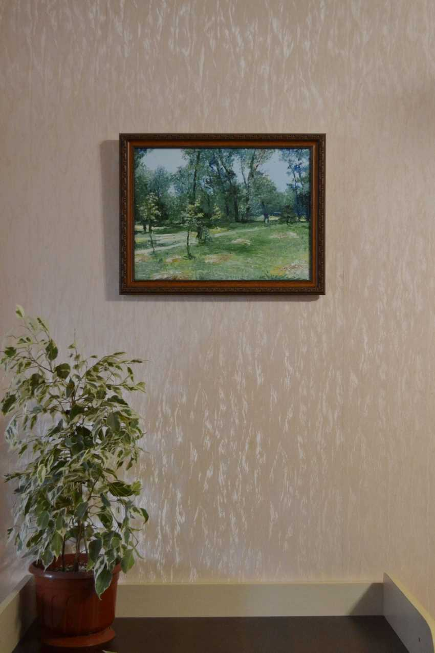 Ivan Ormanzhi. Original landscape painting oil on canvas, Hayfield in the park - photo 3