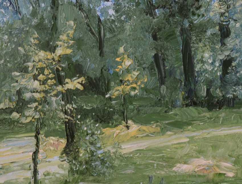 Ivan Ormanzhi. Original landscape painting oil on canvas, Hayfield in the park - photo 4
