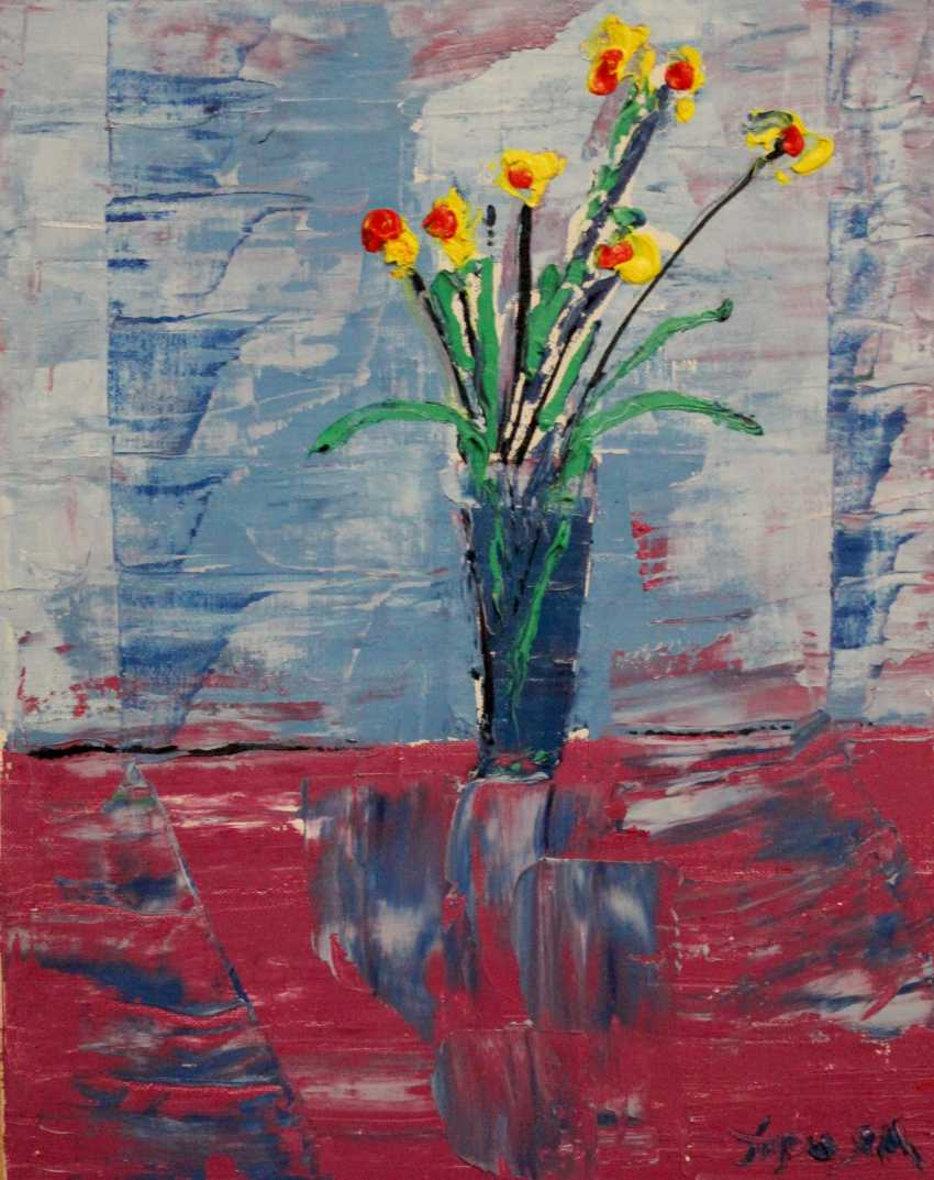 Oleg Troyan. Flowers in a blue vase - photo 1