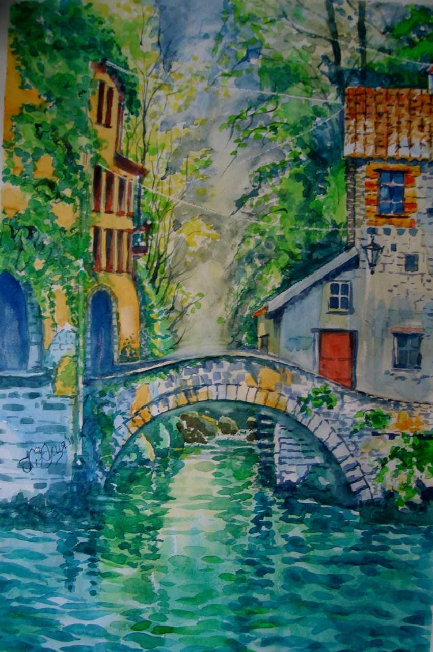 Julia Koliada. Landscape with bridge - photo 1