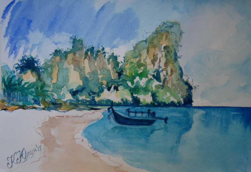 Julia Koliada. Boat ,the mountains and the sea - photo 1