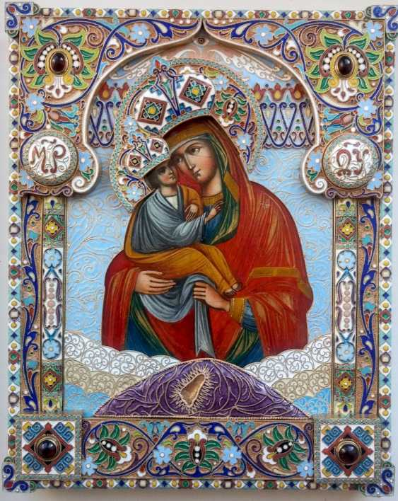 "Icon ""the mother of God of Pochaev"" precious enamel oklad - photo 1"