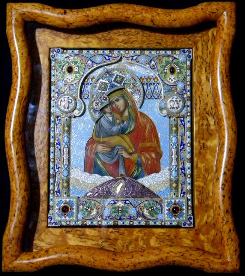"Icon ""the mother of God of Pochaev"" precious enamel oklad - photo 4"