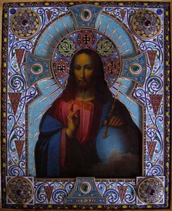 """Икона """"Господь Вседержитель"""" в драгоценном серебряном окладе - фото 1"""