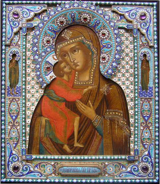 "Icon ""mother of God"" quick to hearken """" in precious silver frame with enamel - photo 1"