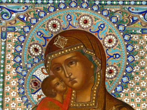 "Icon ""mother of God"" quick to hearken """" in precious silver frame with enamel - photo 2"