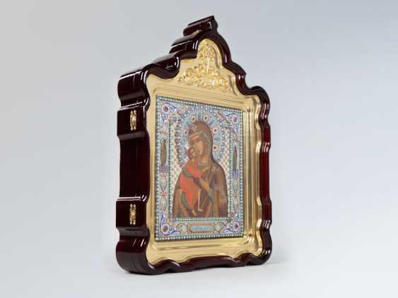 "Icon ""mother of God"" quick to hearken """" in precious silver frame with enamel - photo 4"