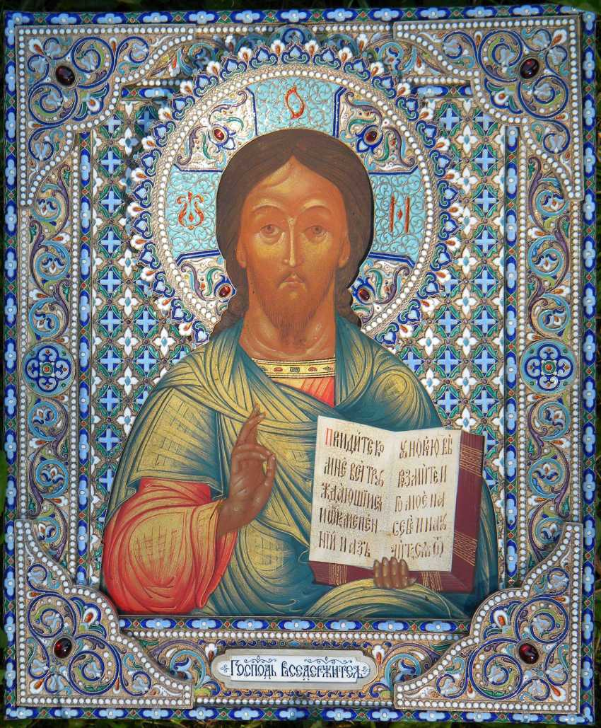"Icon ""Lord Almighty"" in a precious silver frame with enamel. - photo 1"