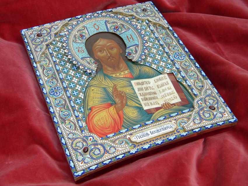 "Icon ""Lord Almighty"" in a precious silver frame with enamel. - photo 2"