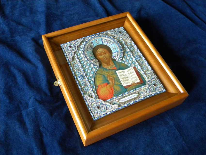"Icon ""Lord Almighty"" in a precious silver frame with enamel. - photo 4"