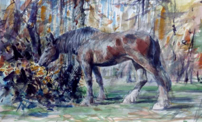 Aleksey Tochin. Horse. Sketch watercolor - photo 1
