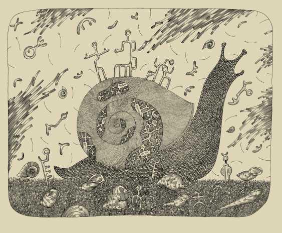"Rashid Orudzhev. Graphic series: ""Snails"". Letter No. 1 ""King"" - photo 1"