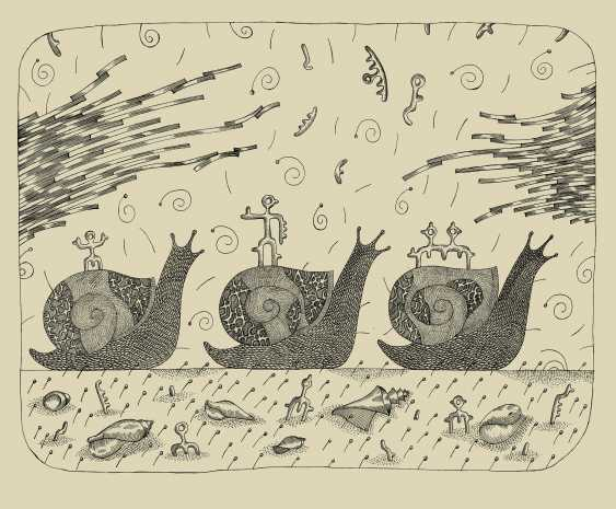 "Rashid Orudzhev. Graphic series: ""Snails"". Letter No. 3 ""Journey"" - photo 1"