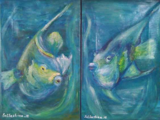 "Elena Podust. Diptych oil ""fish whispering around me"" - photo 1"