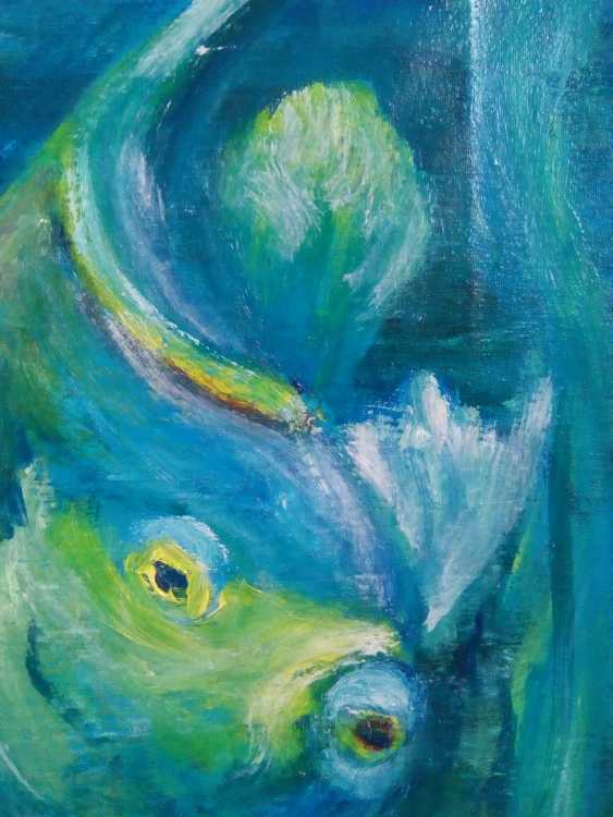"Elena Podust. Diptych oil ""fish whispering around me"" - photo 2"