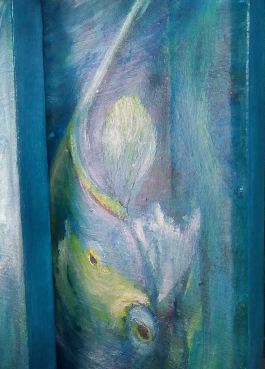 "Elena Podust. Diptych oil ""fish whispering around me"" - photo 6"