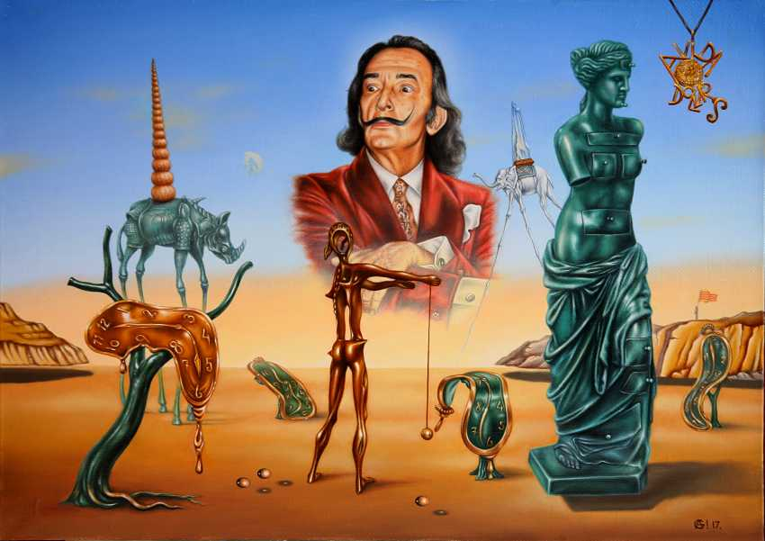 "Andrey Gorenkov. ""Homage To Dali.Salvador admiringly contemplating his contribution to the art world."" - photo 1"