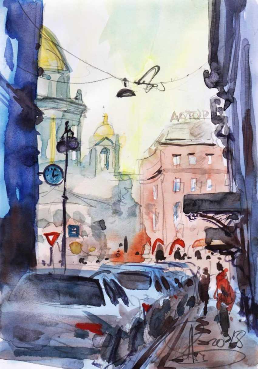 Aleksey Tochin. Pereulok Antonenko. Sketch watercolor. - photo 1