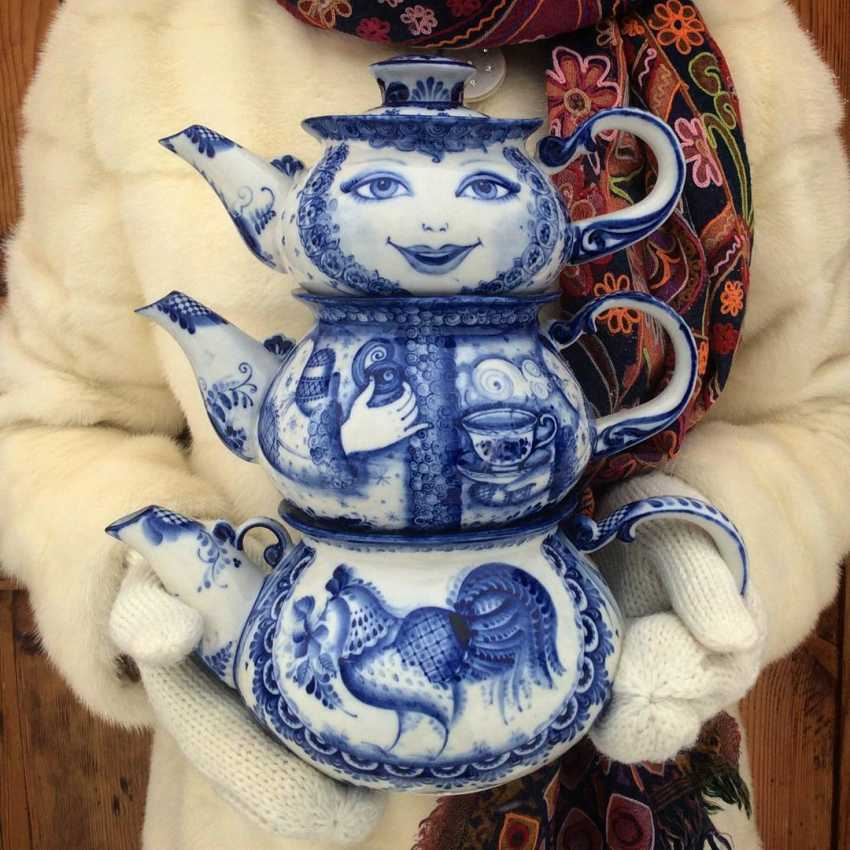 Sergey Karpukhin. Matrioshka - teapots set - three teapots - photo 3