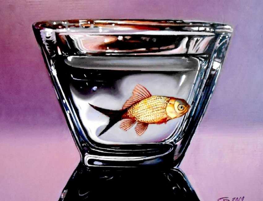 "VIKTOR SAVIN. ""Fish in a bowl of black glass"" - photo 1"