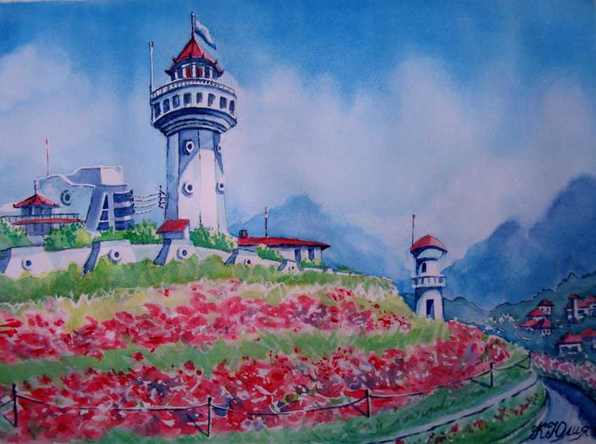 Julia Koliada. landscape with lighthouse and poppies - photo 1