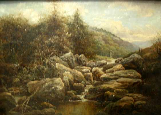 """UNKNOWN ARTIST """"MOUNTAIN STREAM WITH BOULDERS"""" - photo 1"""