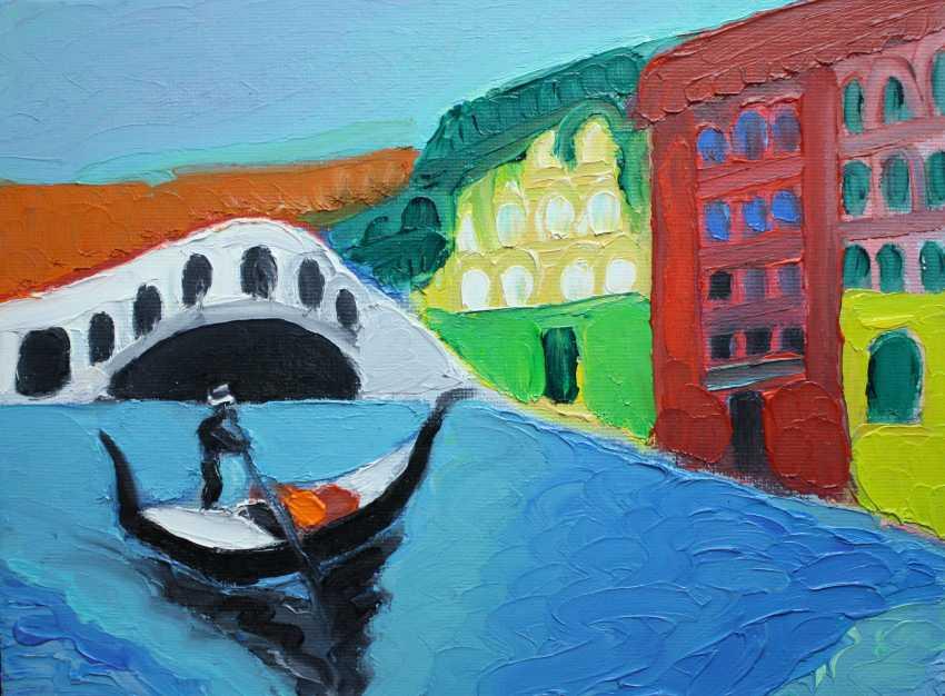 Roni Goldfinger. Venice Original oil painting Finger painting 2019 ( 24x18 cm ) - photo 1