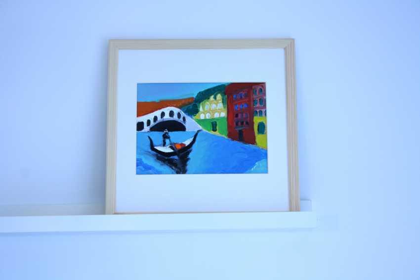 Roni Goldfinger. Venice Original oil painting Finger painting 2019 ( 24x18 cm ) - photo 2