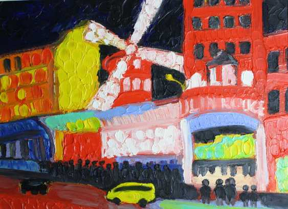 Roni Goldfinger. Moulin rouge Original oil painting Finger painting 2019 Home wall decor Canvas Art. New. Without frame. 24x18cm - photo 1