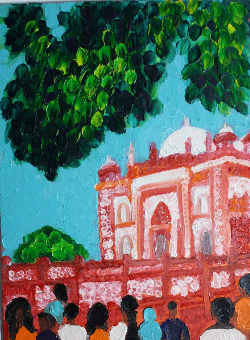 Roni Goldfinger. India Original oil painting Finger painting 2019 Home wall decor Canvas Art. New. Without frame. 24x18cm - photo 1