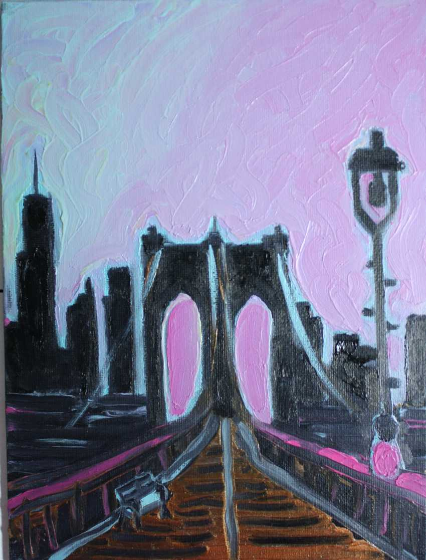 Roni Goldfinger. New-York Original oil painting Finger painting 2019 Home wall decor Canvas Art. New. Without frame. 24x18cm - photo 1