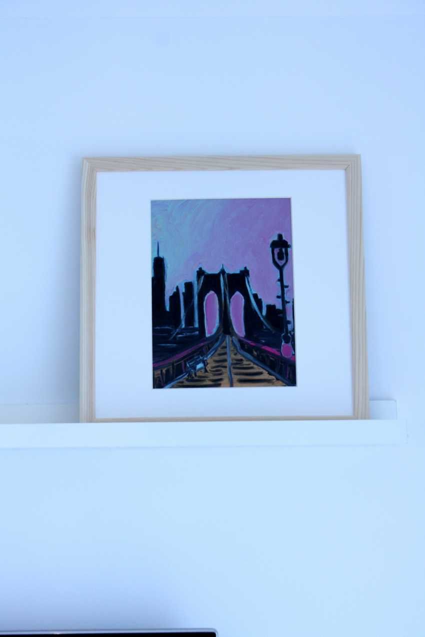 Roni Goldfinger. New-York Original oil painting Finger painting 2019 Home wall decor Canvas Art. New. Without frame. 24x18cm - photo 2