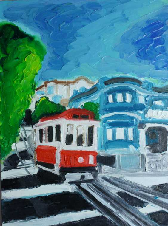 Roni Goldfinger. San Francisco Original oil painting Finger painting 2019 Home wall decor Canvas Art. New. Without frame. 24x18cm - photo 1
