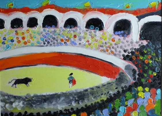 Roni Goldfinger. Corrida Spain Original oil painting Finger painting 2019 Home wall decor Canvas Art. New. Without frame. 24x18cm - photo 1