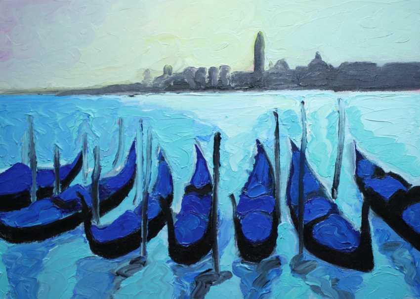Roni Goldfinger. Venice Original oil painting Finger painting 2019 Home wall decor Canvas Art. New. Without frame. 25x35cm - photo 1