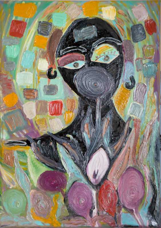 Roni Goldfinger. African Original oil painting Finger painting 2019 Home wall decor Canvas Art. New. Without frame. 50x70cm - photo 1