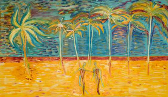 Roni Goldfinger. Paradise Original oil painting Finger painting 2019 Home wall decor Canvas Art. New. Without frame. 120x70cm - photo 1