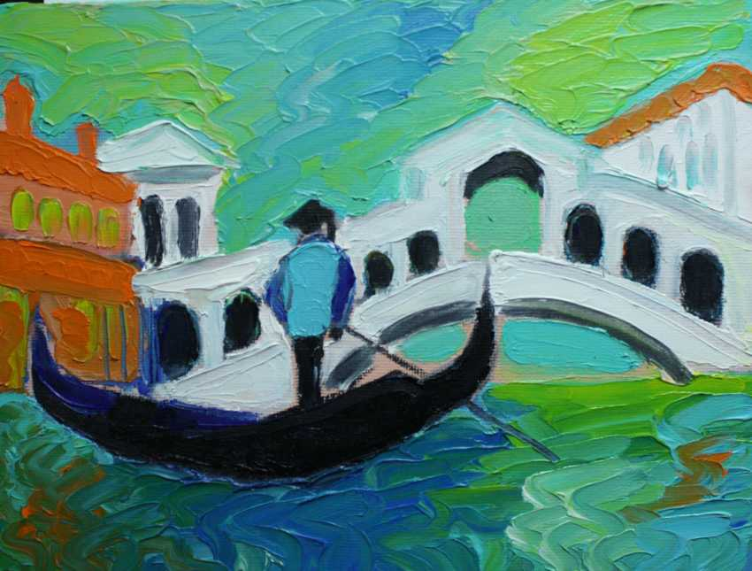 Roni Goldfinger. Venice Original oil painting Finger painting 2019 Home wall decor Canvas Art. New. Without frame. 24x18cm - photo 1