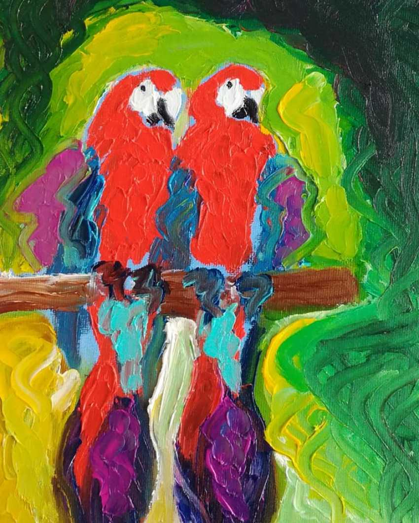 Roni Goldfinger. Parrots Original oil painting Finger painting 2019 Home wall decor Canvas Art. New. Without frame. 24x18cm - photo 1
